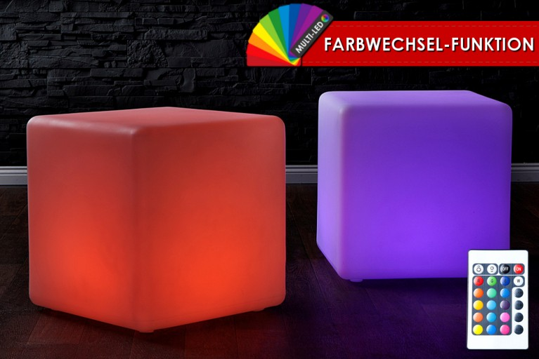 Stylischer LED Würfel CUBO inkl LED Farbwechsel-Funktion