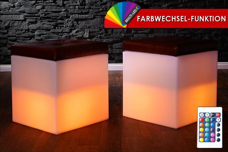 Stylisher LED Würfel DICE incl. Sitzkissen Aufbewahrungsfach und Farbwechsel
