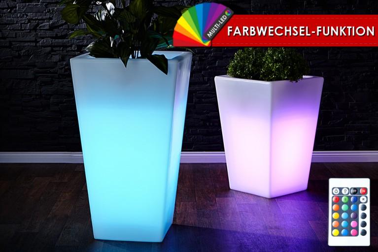 Stylischer Blumentopf PLANT 70 cm quadratisch weiß mit LED Farbwechselbeleuchtung