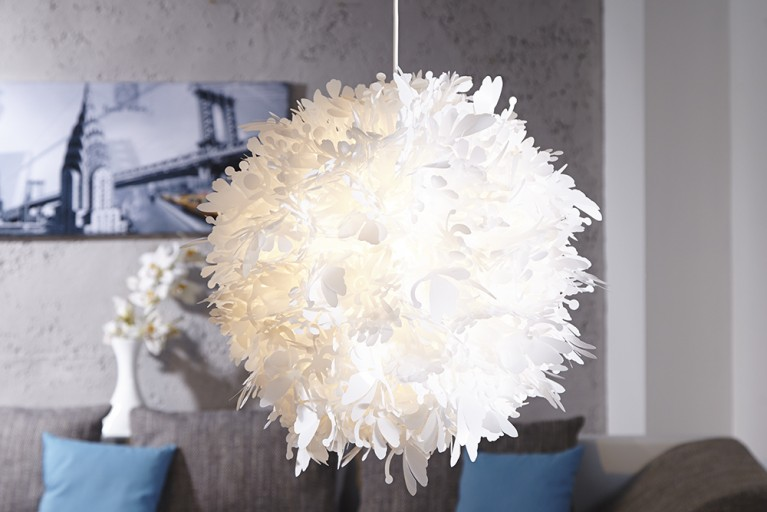 Innovative Design Rundleuchte BLOOM weiss 50cm Blüten Silhouetten