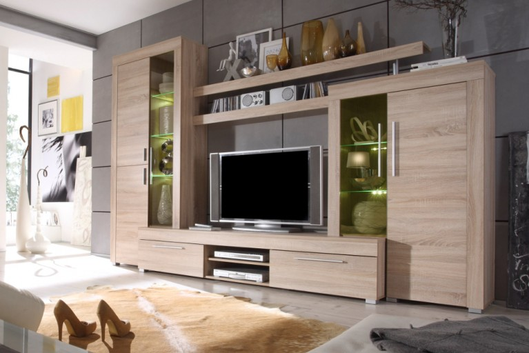 Moderne Design Wohnwand BOOM Eiche sägerau hell inklusive Beleuchtung