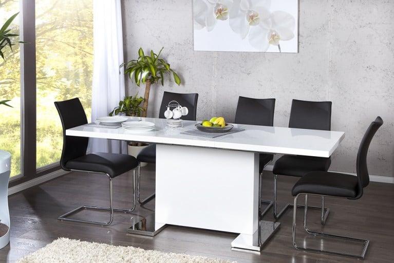 Design Esstisch POLAR weiß Hochglanz 160 - 200 cm ausziehbar chrom Konferenztisch