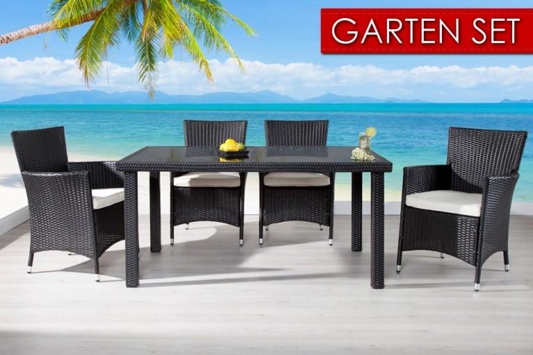 Gartenmöbel-Set SAMOA Polyrattan 9-tlg. Tisch coffee anthrazit 150cm und 4 Gartensessel inkl. Sitzkissen