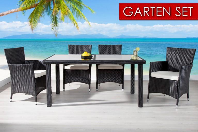 Gartenmöbel-Set SAMOA Polyrattan 9-tlg. Tisch weiss 150cm und 4 Gartensessel inkl. Sitzkissen
