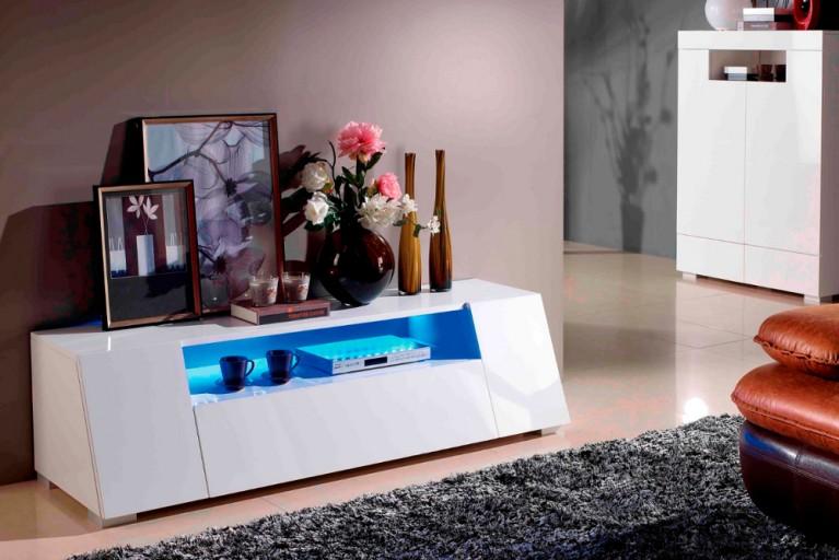 Modernes Media-TV-Lowboard LITE 160cm hochglanz weiss inkl. Multi LED