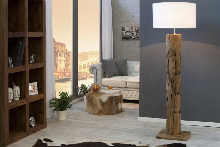 Massive Teakholz Stehlampe ROOTS Treibholz Lampe aus hochwertigen Natur Leinen Stoff  höhenverstellbar weiss