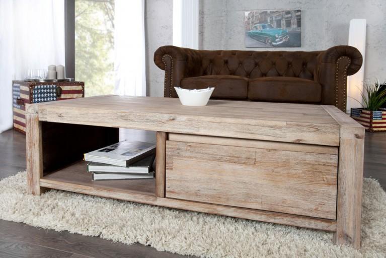 Moderner Couchtisch MONTREAL 110cm Akazie teakgrau gekälkt mit 2x Schubladen Massivholz
