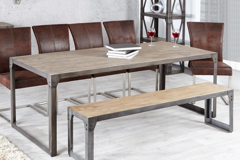 Design Esstisch INDUSTRIAL 200cm Akazie teakgrau gekälkt Metallkorpus