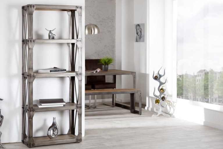 Design Bücherregal INDUSTRIAL 180cm Akazie teakgrau gekälkt Metallkorpus