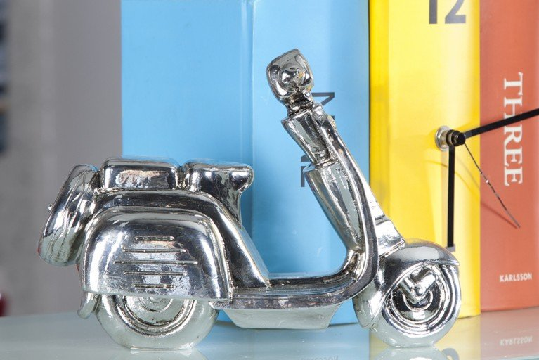 Design Deko Skulptur MOFA 22cm Moped antik silber Accessoire