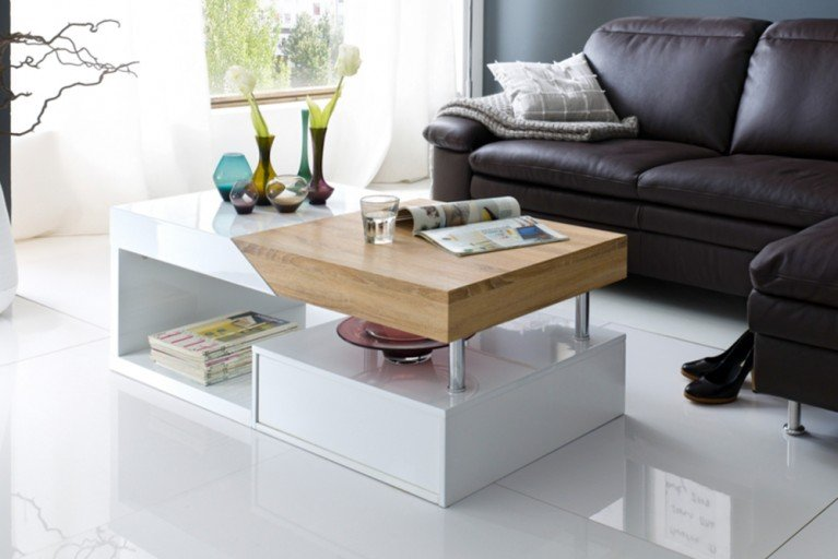 Moderner Design Couchtisch HOPE Original MCA Sonoma Eiche Hochglanz weiß 120cm
