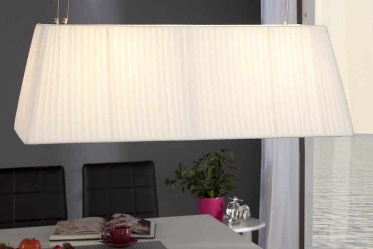 Design Hängelampe GLORIA weiss 80cm Plissee Schirm