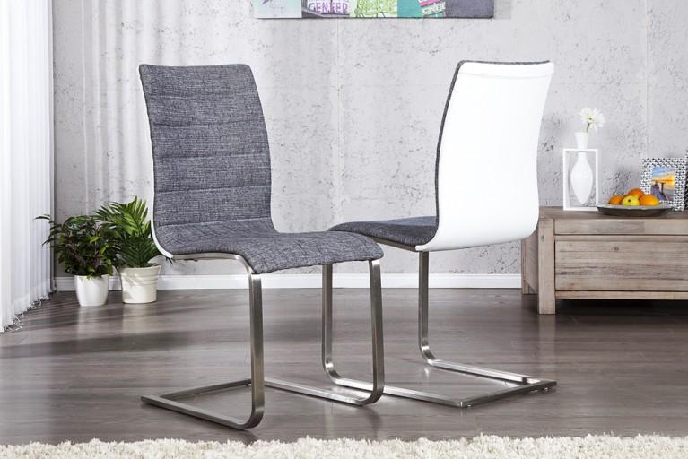 Design Freischwinger Stuhl MAILAND anthrazit weiß