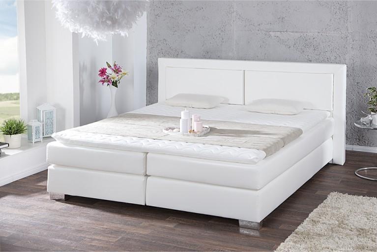 Modernes Boxspringbett QUEENS 180x200 cm weiß  inkl. Matratze und Topper