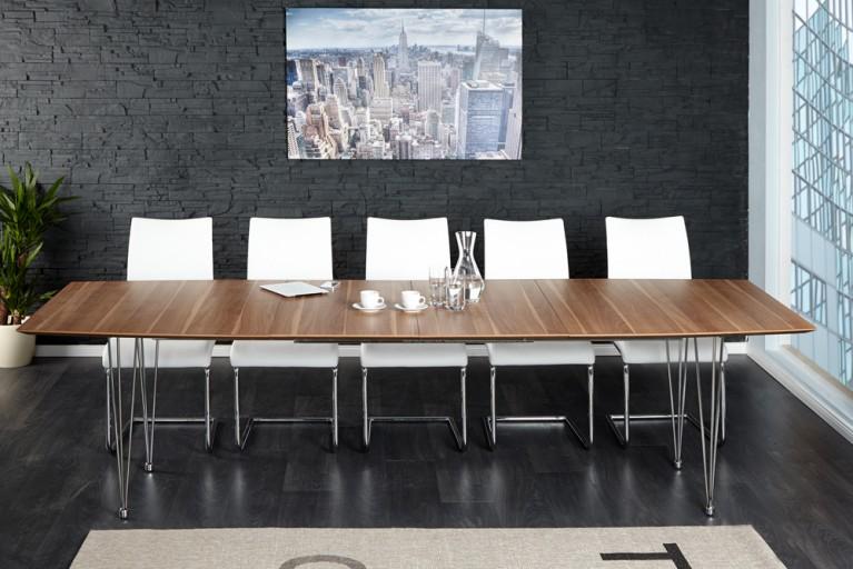 Moderner Konferenztisch CONTINENTAL Walnuss Esstisch 270cm verlängerbar