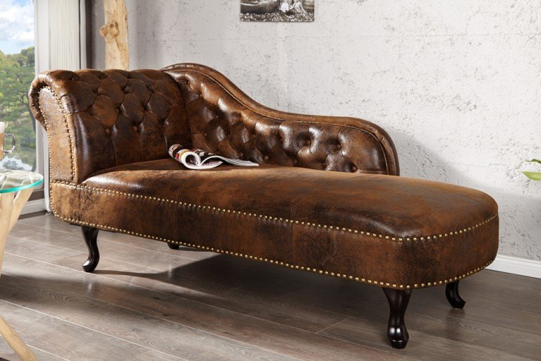 Design Chesterfield Récamière im Antik Look