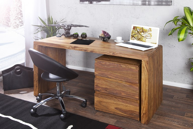 Design Schreibtisch CUBIX Sheesham natur 140cm Bürotisch Holztisch massiv