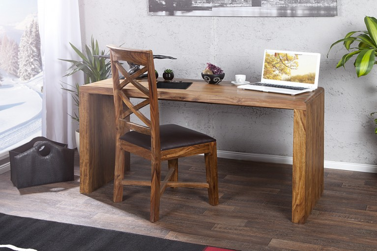 Design Schreibtisch FAST TRADE Sheesham natur 140cm Bürotisch Holztisch massiv