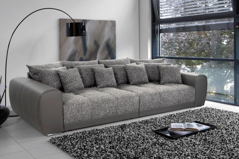 Außergewöhnliches XXL Sofa GIANT LOUNGE Kunstleder Strukturstoff Taupe