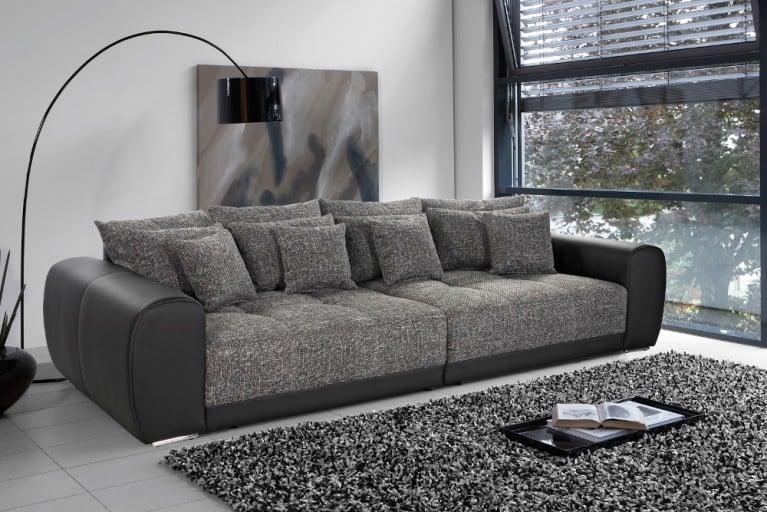 Außergewöhnliches XXL Sofa BIG SAM Kunstleder Strukturstoff Schwarz Dark Grey