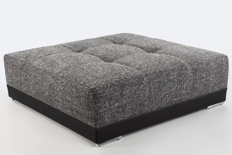 Passender Hocker zum XXL Sofa BIG SAM Kunstleder Strukturstoff Schwarz Dark Grey