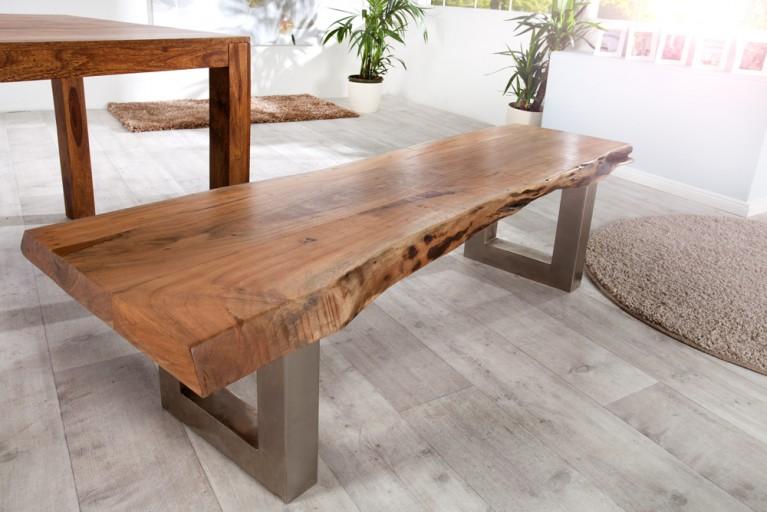 Massive Baumstamm Bank MAMMUT 160cm Akazie Massivholz Industrial Look Kufengestell mit 3,5 cm dicker Tischplatte