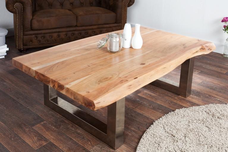 Massiver Baumstamm Couchtisch MAMMUT 120cm Akazie Massivholz verchromtes Kufengestell mit 3,5 cm dicker Tischplatte
