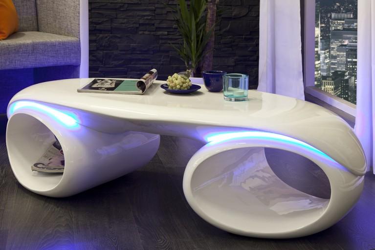 Design Couchtisch FUTURA weiss Hochglanz mit LED Beleuchtung