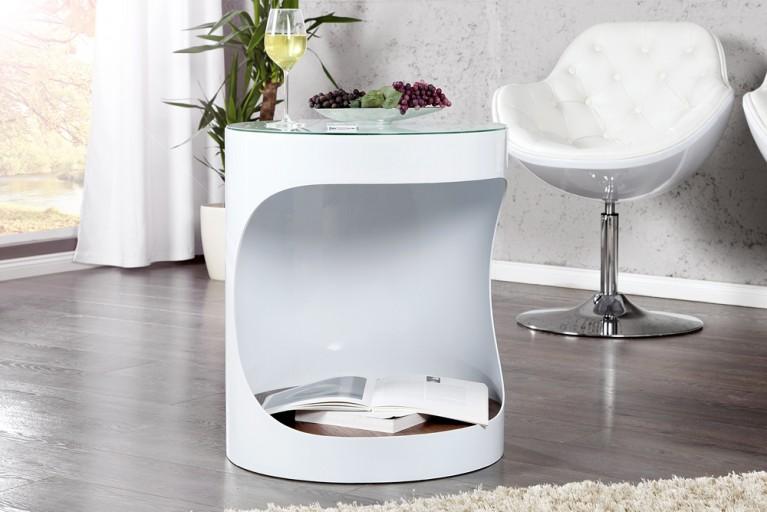 Stylischer Design Beistelltisch YORK weiß Walnuss 60cm Tisch mit Ablagefach
