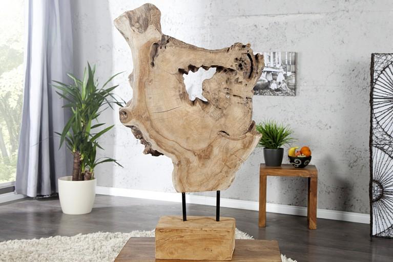gro e natur skulptur roof teak baumstamm scheibe. Black Bedroom Furniture Sets. Home Design Ideas
