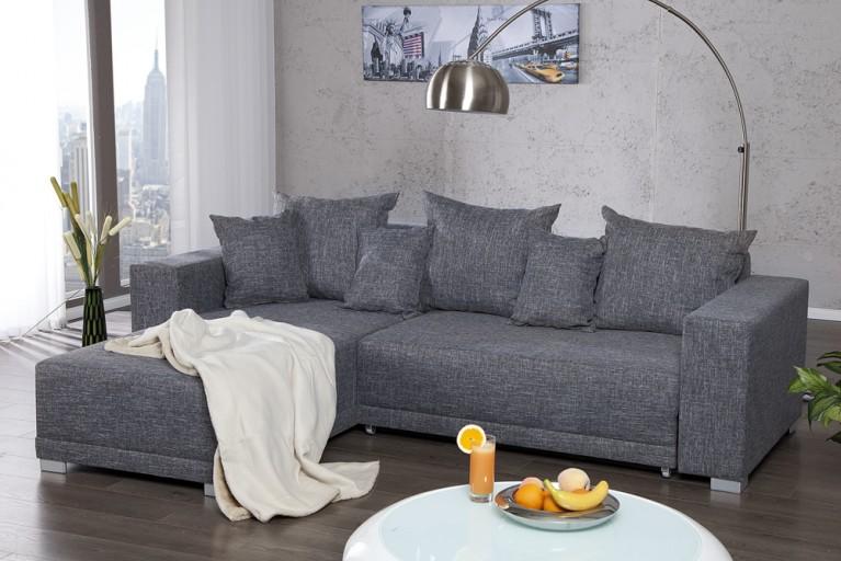Design Ecksofa ARIZONA Strukturstoff grau Federkern Sofa Schlafsofa