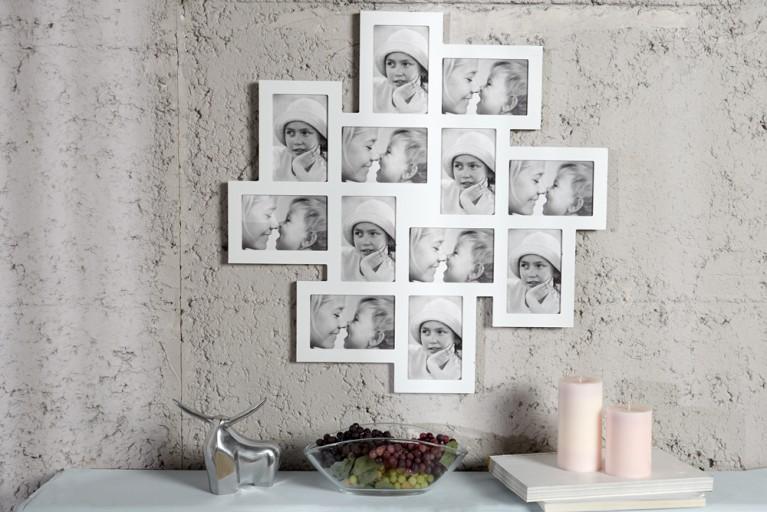 Exklusiver Bilderrahmen XL PICTURE für 12 Fotos Weiß 10x15cm