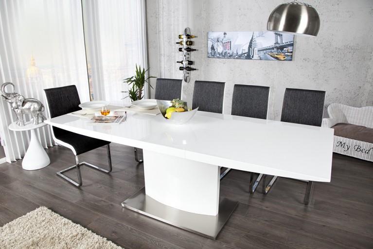 Design Esstisch MILAN weiß Hochglanz 160-220cm ausziehbar