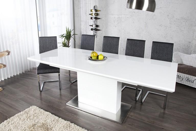 Design Esstisch ATLANTA weiss high gloss 160-220cm ausziehbar Konferenztisch