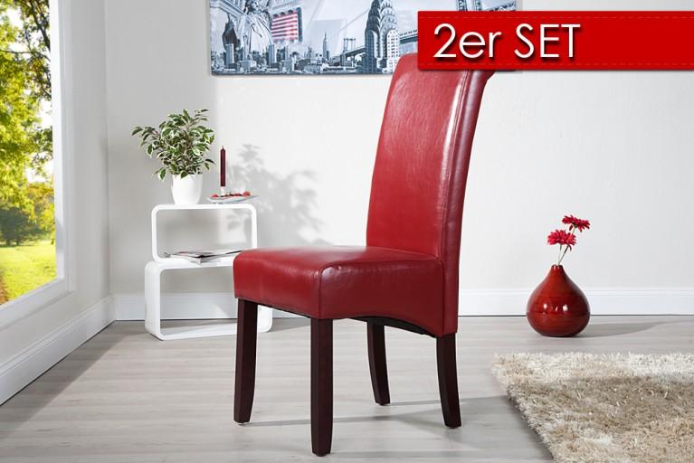 2er Set Edler Kolonial Stuhl VALENTINO bordeaux rot dunkle Beine inkl. Nackenrolle