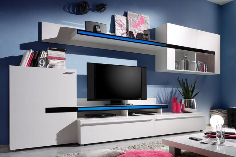 Moderne Design Wohnwand PHOENIX matt Weiss mit Absetzungen mit Schwarzglas