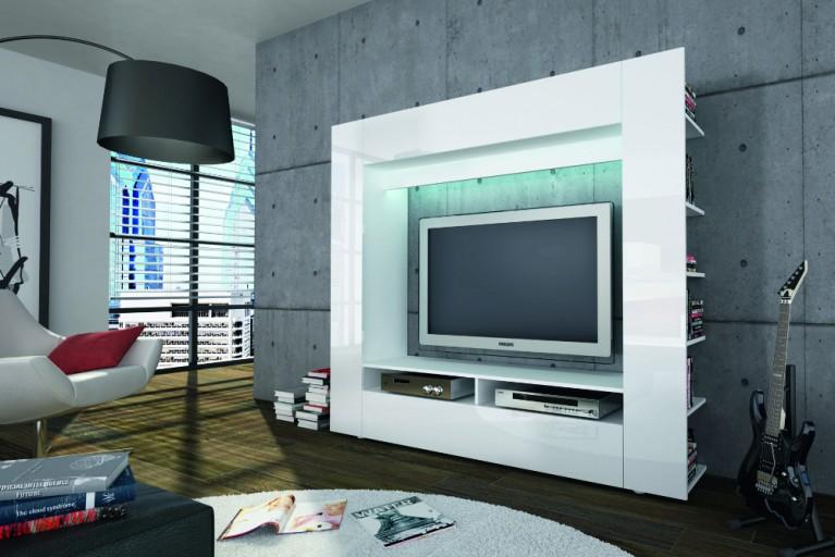 Moderne Design TV Medienwand EPIC weiss hochglanz 185cm Fernseh Wohnwand