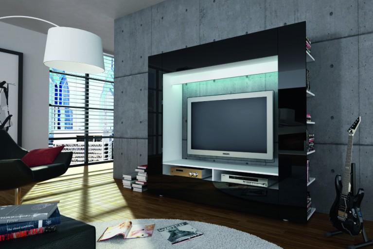 Moderne Design TV Medienwand EPIC schwarz hochglanz 185cm Klavierlack Optik