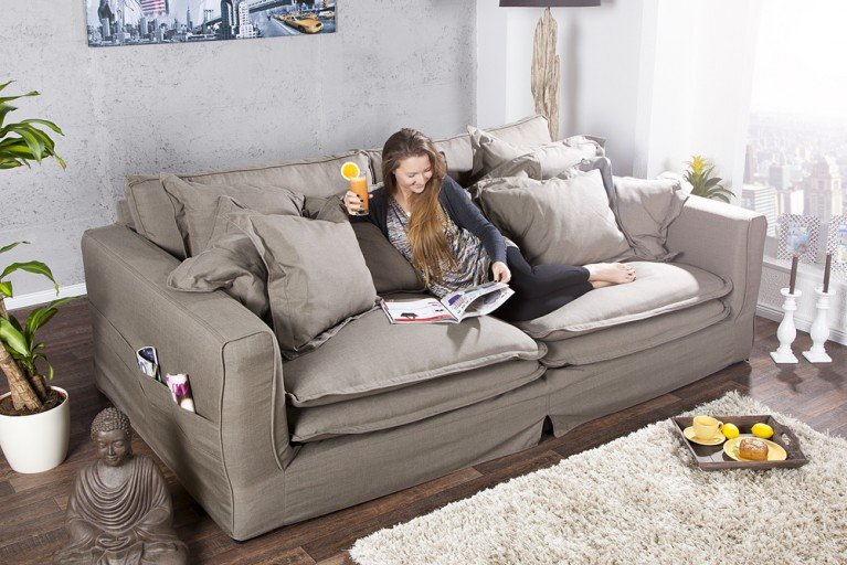 gro es hussensofa heaven leinenstoff in weiss 3er sofa 215cm riess ambiente onlineshop. Black Bedroom Furniture Sets. Home Design Ideas