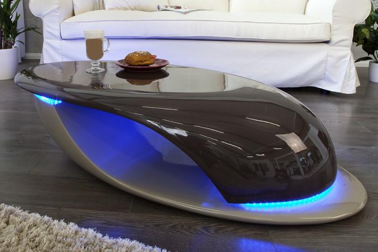Design Couchtisch DISTRICT Hochglanz mit LED Beleuchtung