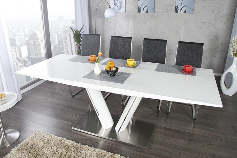 Design Esstisch VALENCIA weiß ausziehbar 160 - 220cm Hochglanz Stahl gebürstet