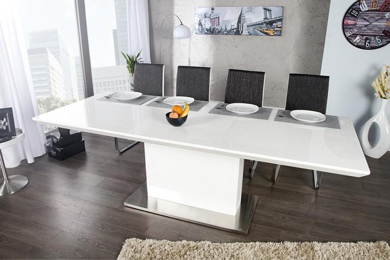 ausziehbarer design esstisch concord glastisch chrom weiss 180 220cm tisch riess ambiente. Black Bedroom Furniture Sets. Home Design Ideas