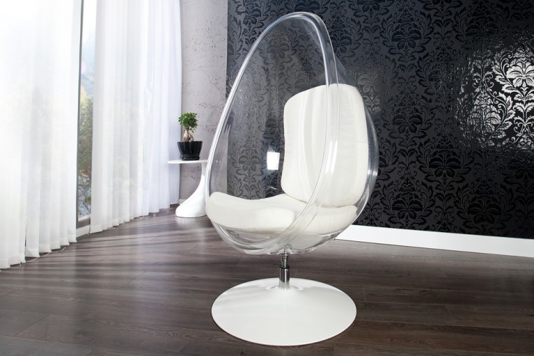 Design Lounge Sessel Sitzei SPACE EGG Acryl klar weiss