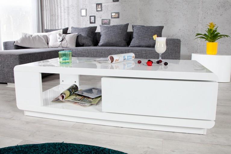 Moderner Design Couchtisch FORTUNA hochglanz weiss mit funktioneller Schublade