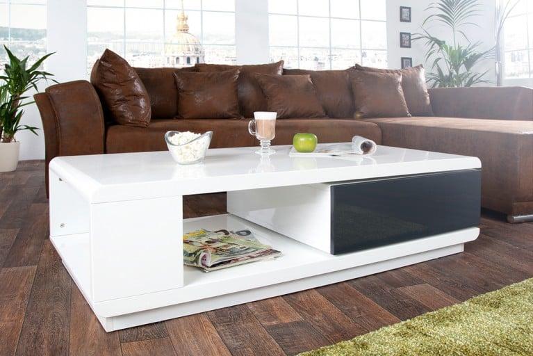 Moderner Design Couchtisch FORTUNA hochglanz weiss anthrazit mit funktioneller Schublade