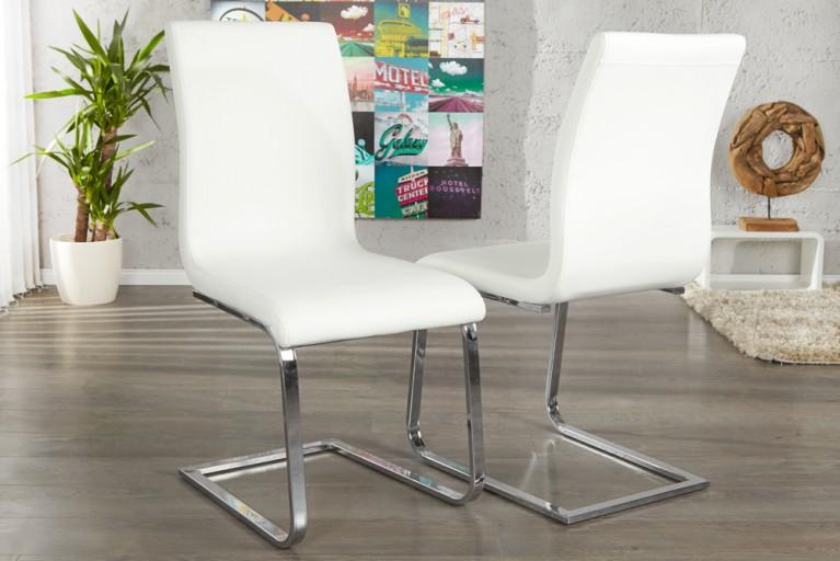 Eleganter Design Freischwinger HAMPTON Stuhl im edlem weiss