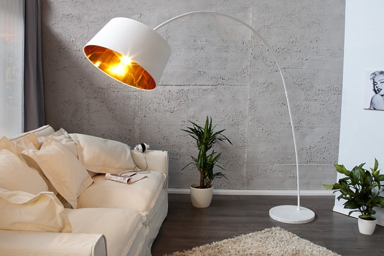 Design Stehleuchte FORMA weiss gold Bogenlampe Bogenleuchte