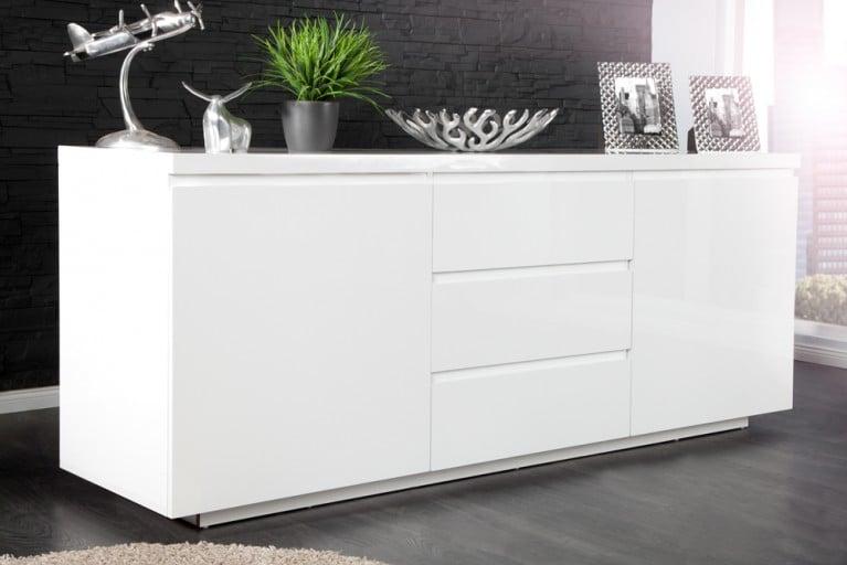 Modernes Design Sideboard X7 190cm weiß Hochglanz Finish