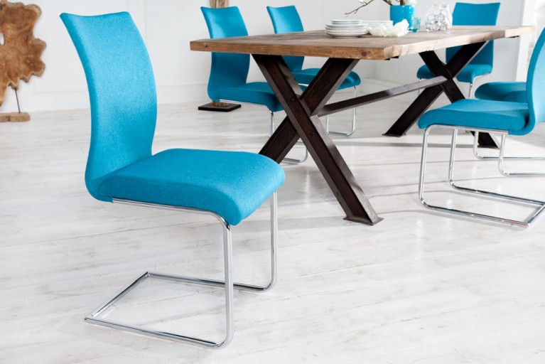Design Freischwinger Stuhl SUAVE Strukturstoff petrol
