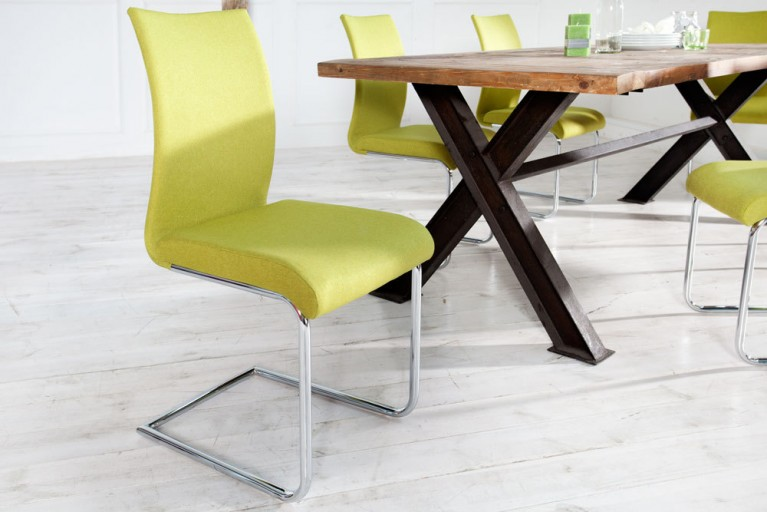 Design Freischwinger Stuhl SUAVE Strukturstoff lemon
